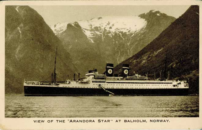 A postcard depicting the Arandora Star.