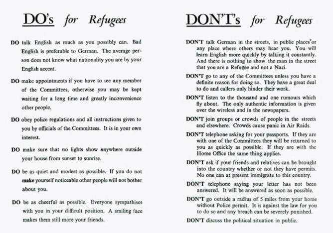 This reading tells refugees what to do and what not to do while in Britain.