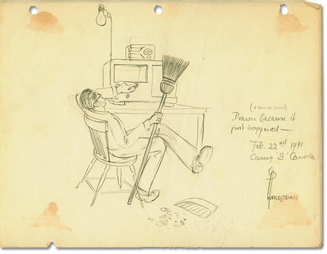 A pencil sketch of a man reclining in a chair turning the dial on the radio.