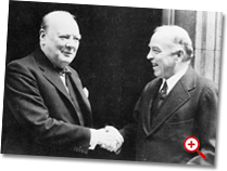 W.L. Mackenzie King shaking hands with Winston Churchill.