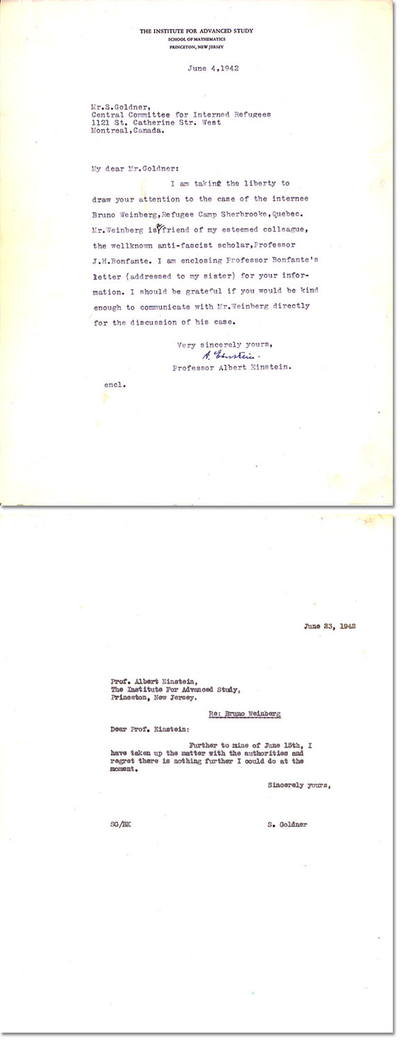 Two letters of correspondence between Albert Einstein and Sam Goldner.
